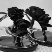 black ruffly sandals, a makeover