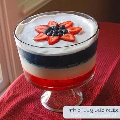 4th of July Jello dessert idea. This jello trifle is delicious and very patriotic!