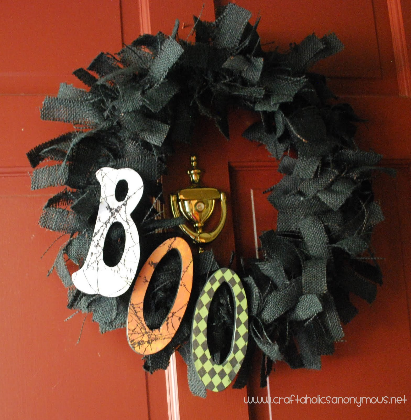 black burlap halloween wreath. Black Bedroom Furniture Sets. Home Design Ideas