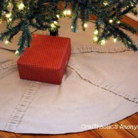 ruffled drop cloth Christmas tree skirt TUTORIAL