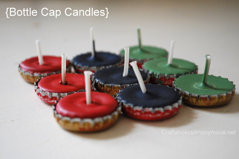 how to make candles with bottle caps