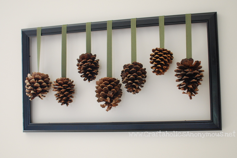Framed pine cones - Decoration de noel fait main ...