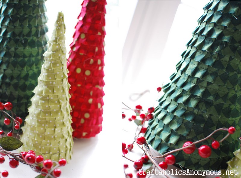 fabric ruffle christmas trees