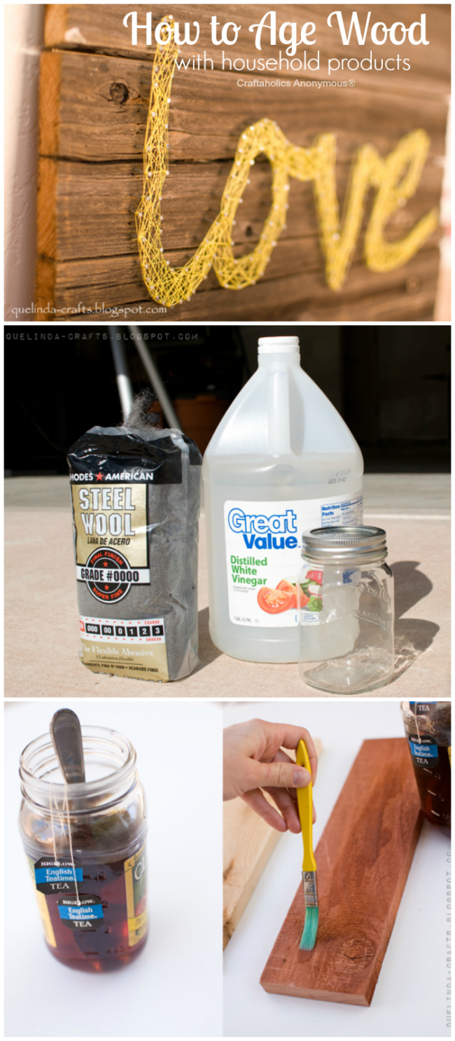 Great tutorial on How to Age Wood using household products. Great DIY tutorial!