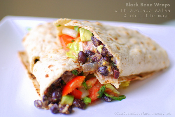 Black Bean Wraps with Avocado Salsa recipe - Craftaholics Anonymous™