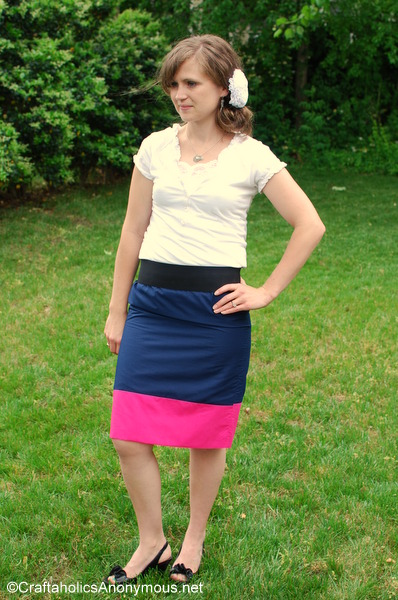 color block skirt