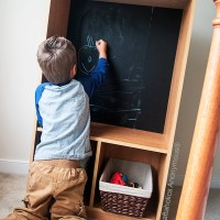Bookshelf Makeover: Chalkboard Art center