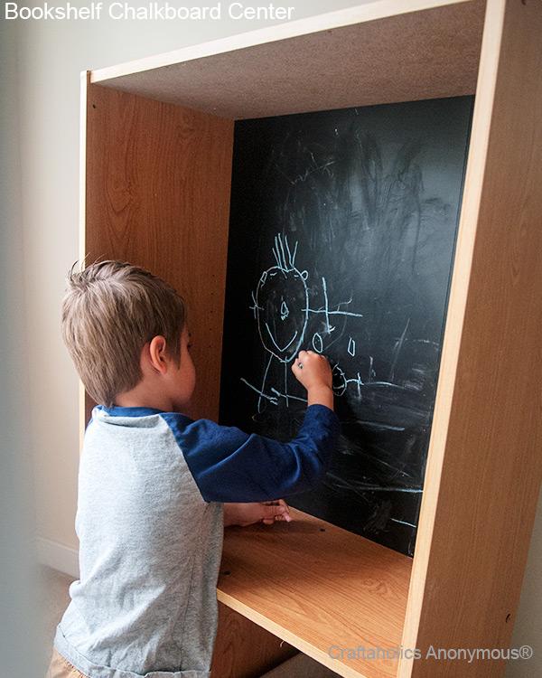 chalkboard bookshelf