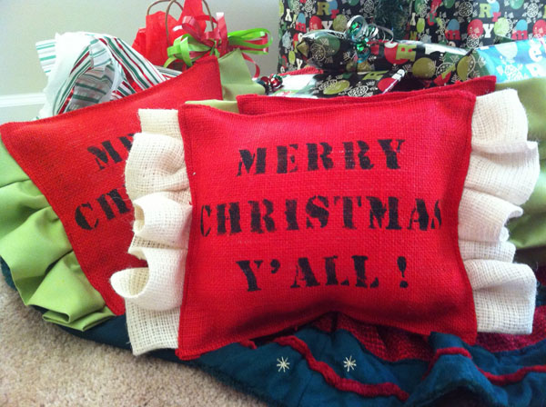 ruffled burlap Christmas pillow