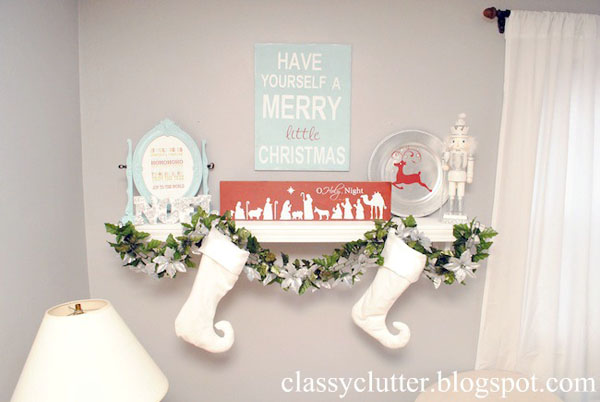 how to decorate a mantle for Christmas