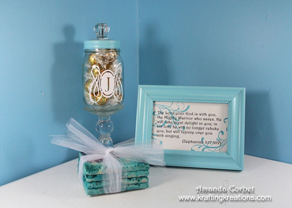 candy jar, coasters, frame