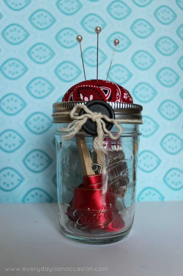 pin cushion sewing kit mason jar