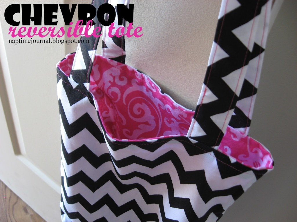 reversible chevron tote
