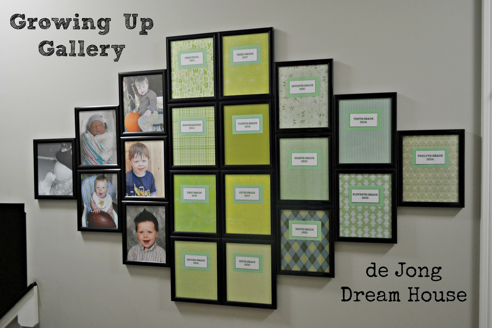 """Use matching frames to create a """"Growing Up Gallery"""" of all your"""
