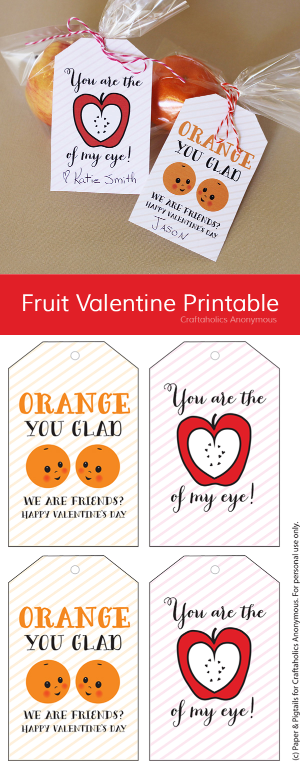 Free Fruit Valentine Printable || Kids Valentines Printable