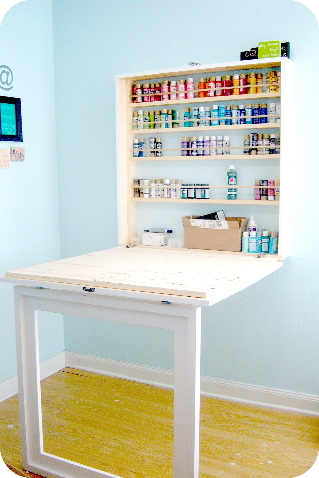 Craftaholics anonymous craft paint storage ideas for Crafts table with storage