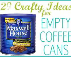 Crafty ideas for coffee metal and plastic coffee cans at Craftaholics Anonymous