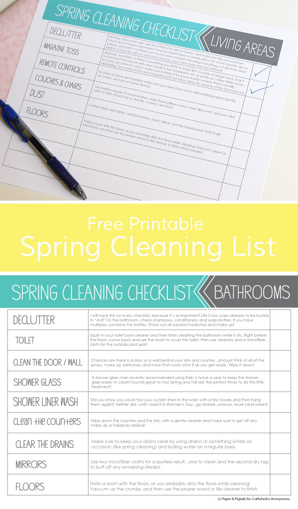 Free Printable Spring Cleaning List