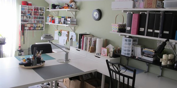 light and airy craft room with tons of storage