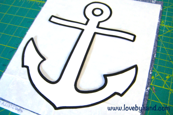 ... 10″ piece of fabric. Using your anchor template, trace it to the