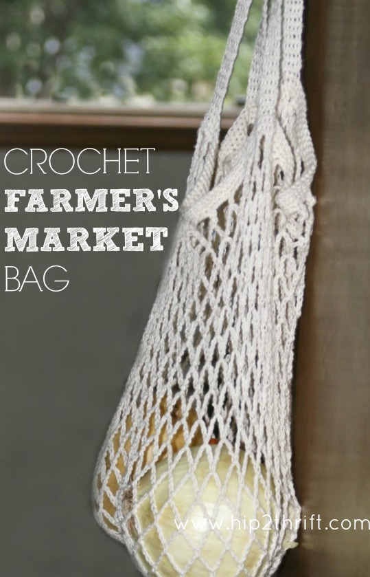 Crochet Net Bag Pattern : Love this crochet market tote! #crochet #bag #tote