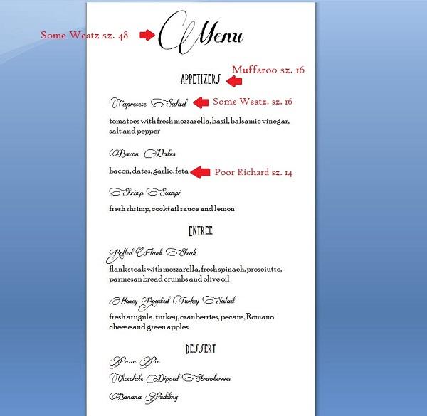 menu fonts