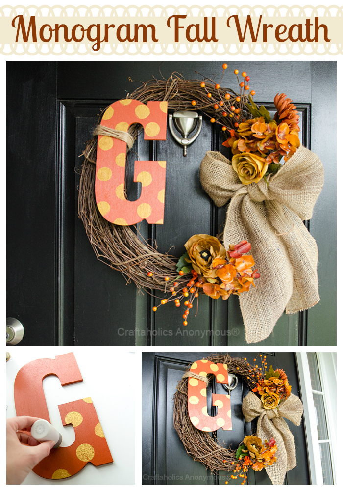 monogram fall wreath