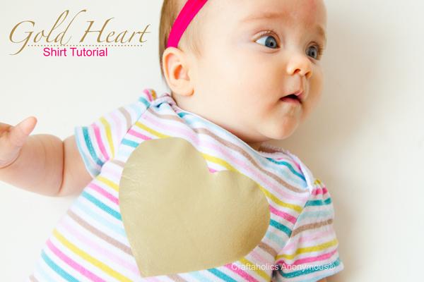 gold heart onesie
