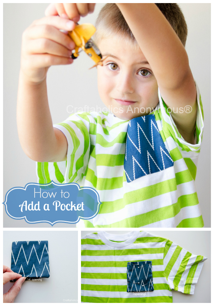 How to add a pocket to a t-shirt #sewing