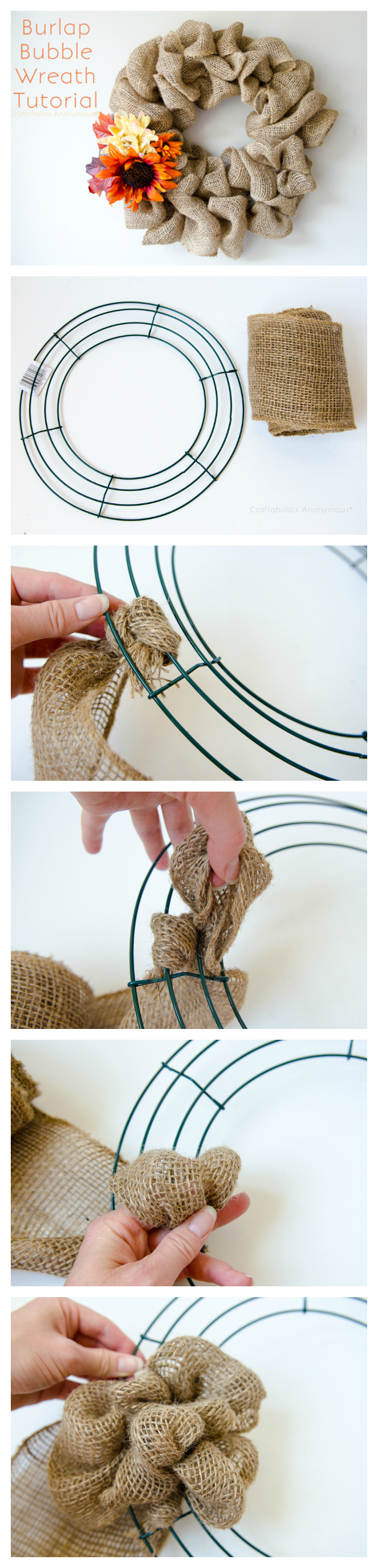 burlap bubble wreath tutorial