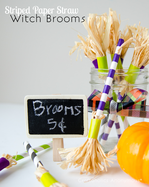 striped paper straw witch brooms
