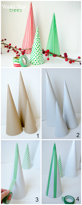 how to make washi tape christmas trees
