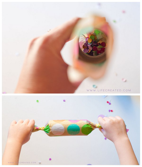 party poppers made from toilet paper rolls