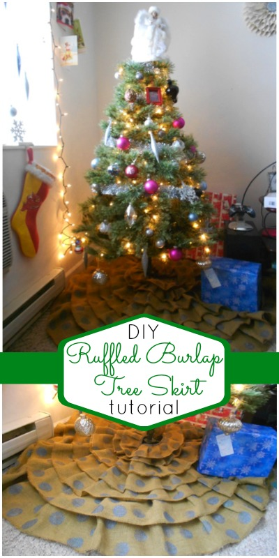 Ruffled Burlap Tree Skirt Tutorial at craftaholicsanonymouys.net