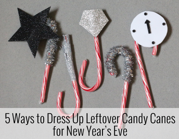 new years eve cupcake toppers with candy canes