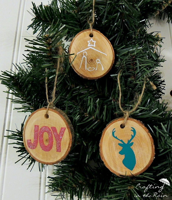 vinyl and wood slice ornaments