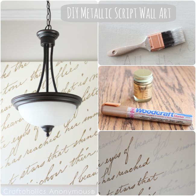 DIY Metallic Script Wall Art tutorial