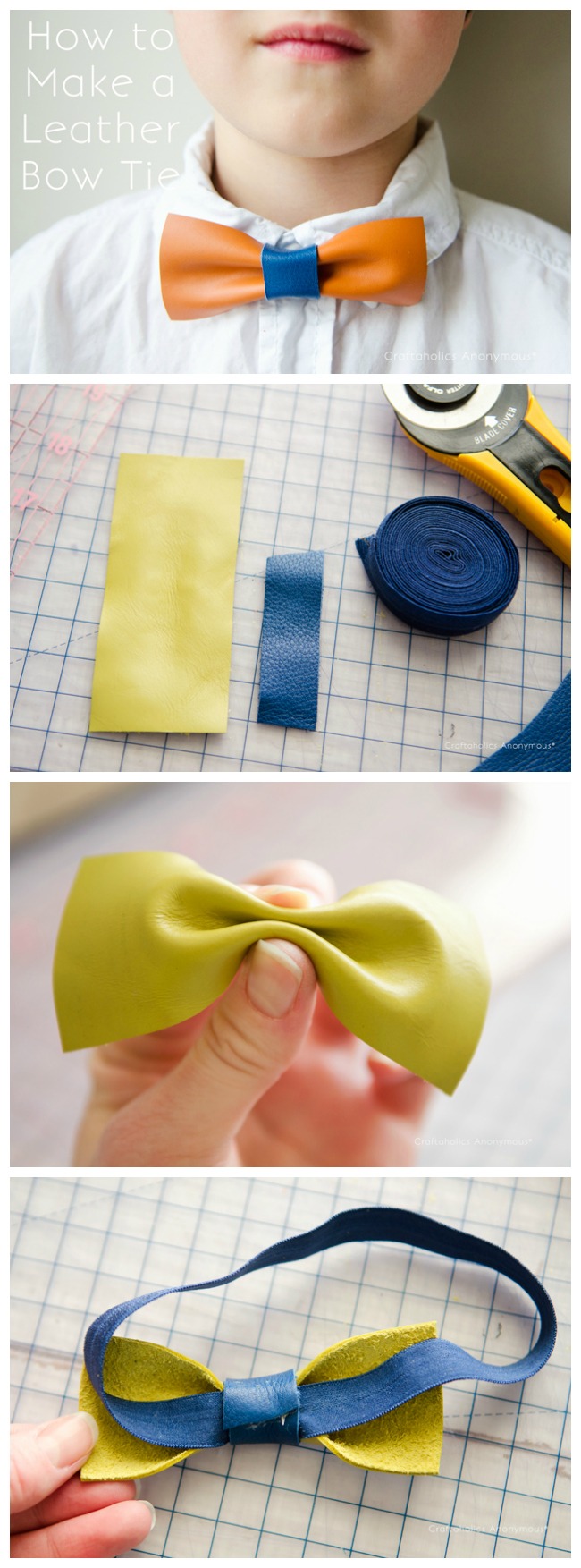 how to make leather bow tie