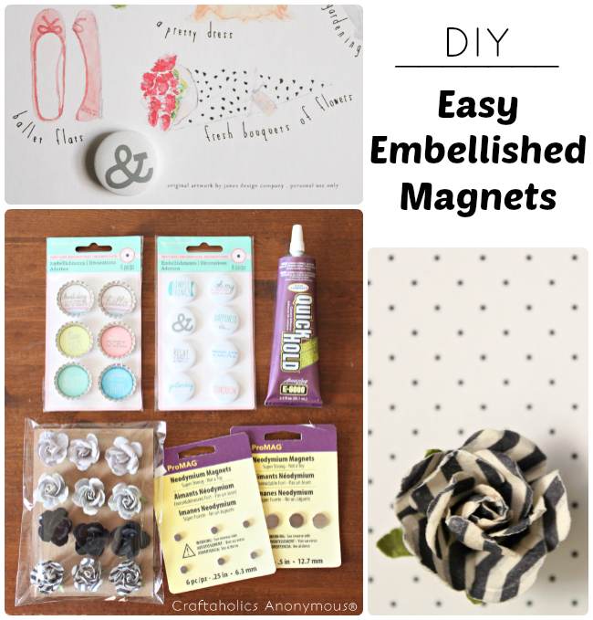 embellished magnets. Cute easy craft for any skill level!