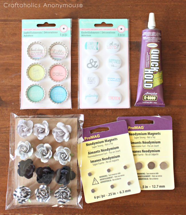 DIY magnets with cute scrapbook embellishments