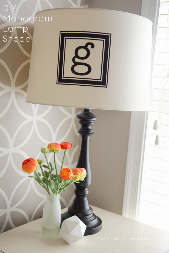 monogram lampshade. This looks awesome! So easy to do too.