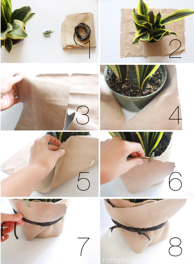 how to make a leather planter