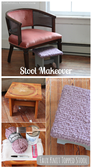 faux knit topped stool tutorial