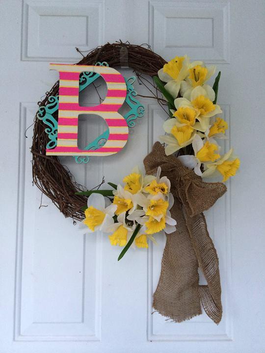 monogram spring wreath