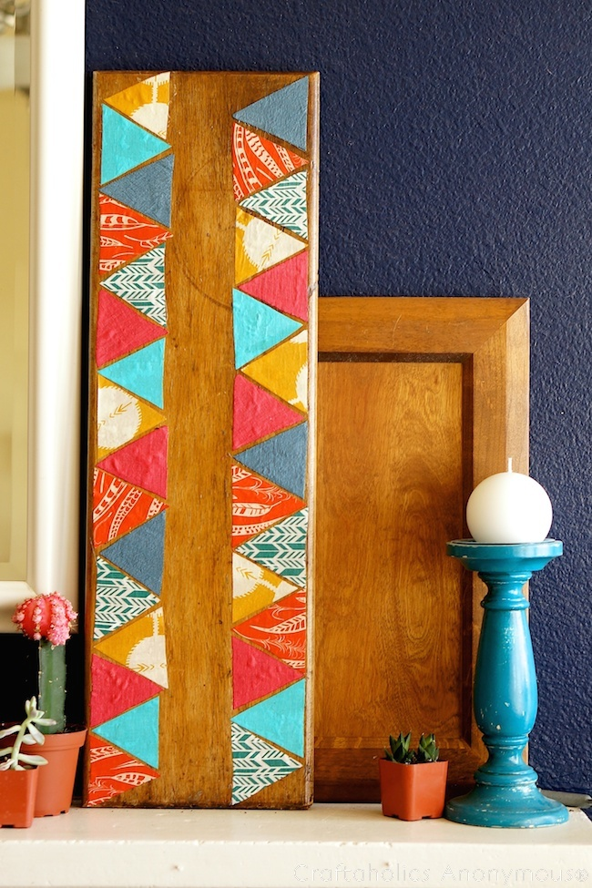 triangle fabric art on reclaimed wood
