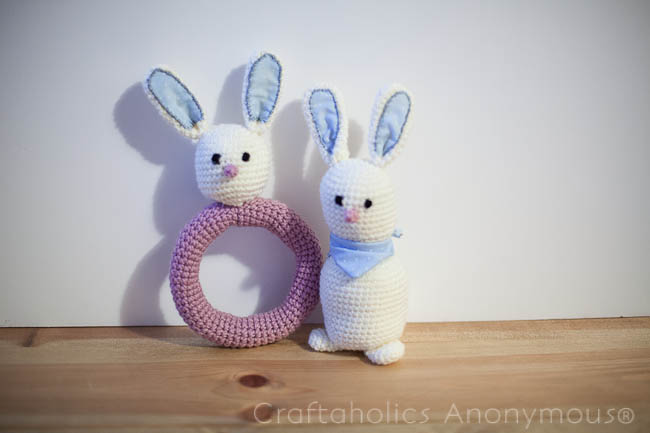 crochet bunny crafts - rattle and softie