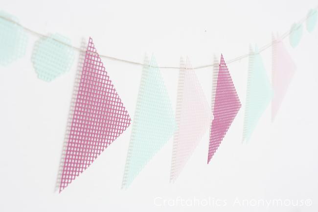 geometric plastic canvas banner
