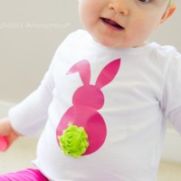 Easter Bunny Shirt with Rosette Tail