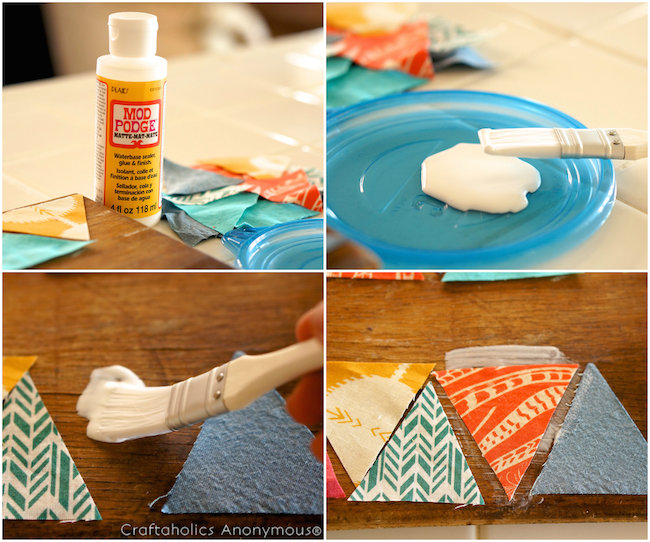how to mod podge fabric