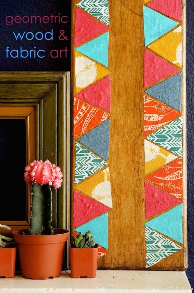 geometric art on reclaimed wood.
